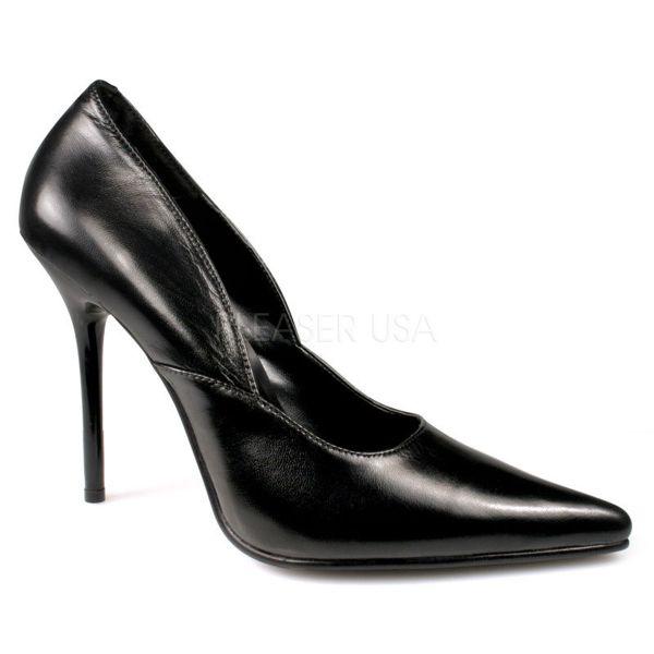 MILAN-01 Klassische Pumps mit Stiletto-Absatz in schwarz Leder